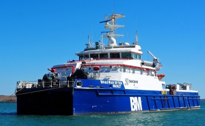 Dive Support Vessel moored to CALM buoy